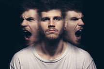 His multiple faces -- the demon within.