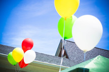 helium balloons for a party outdoors