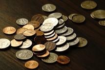 coins on a table