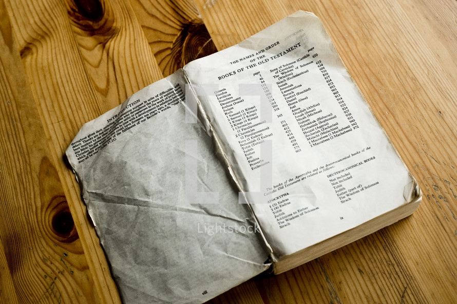 wrinkled pages of a Bible