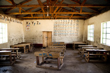 schoolhouse classroom interior in Africa