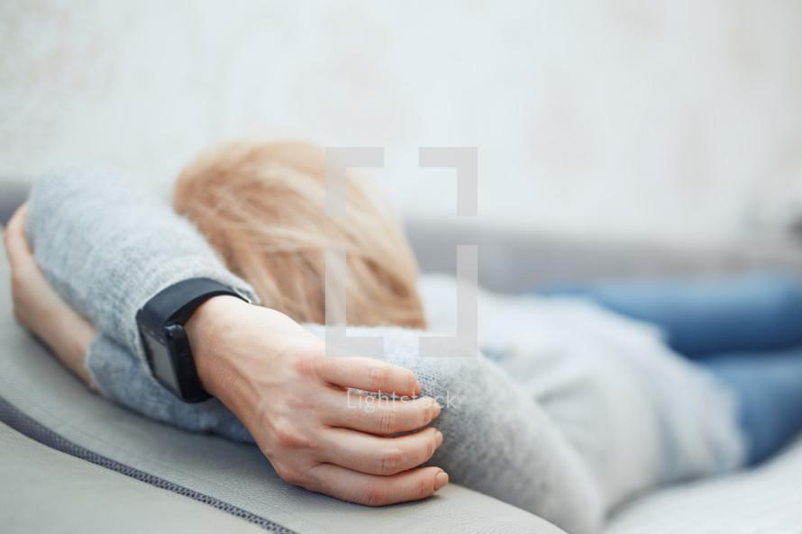 napping woman
