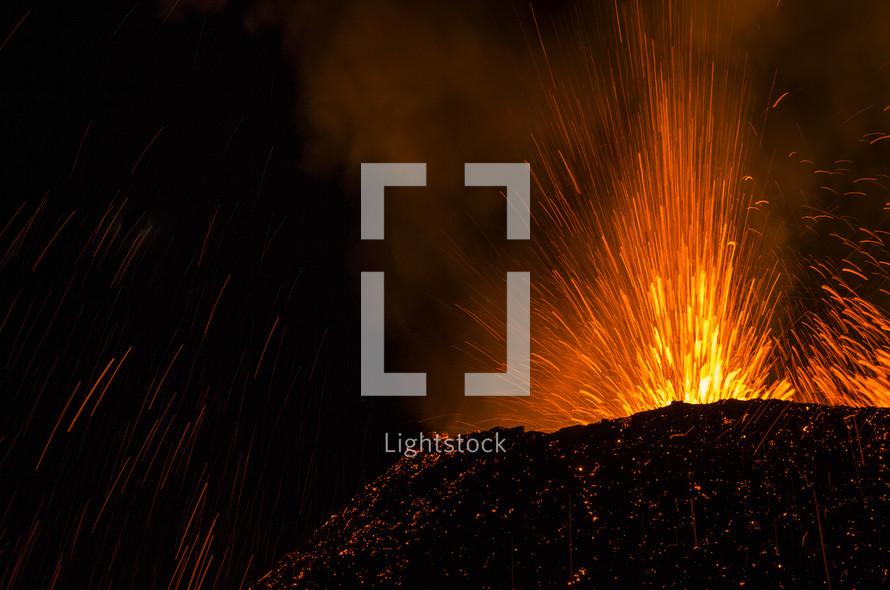 spurting lava