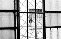 A person peaking from a window covered in bars
