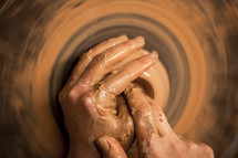 hand, clay, potter's wheel, creation