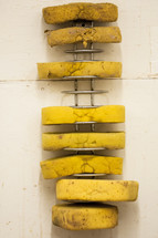 pottery artists sponges on a rack