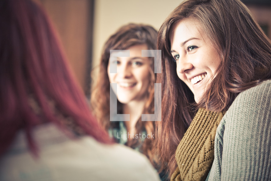 smiling women at a Bible study