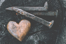 heart and nail spikes