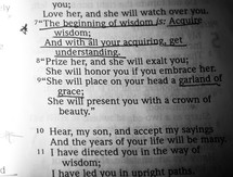 Underlined Bible text; Proverbs 4:7-9