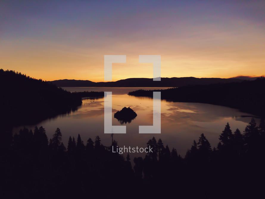 sunrise over a lake