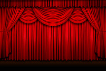 closed curtains on stage