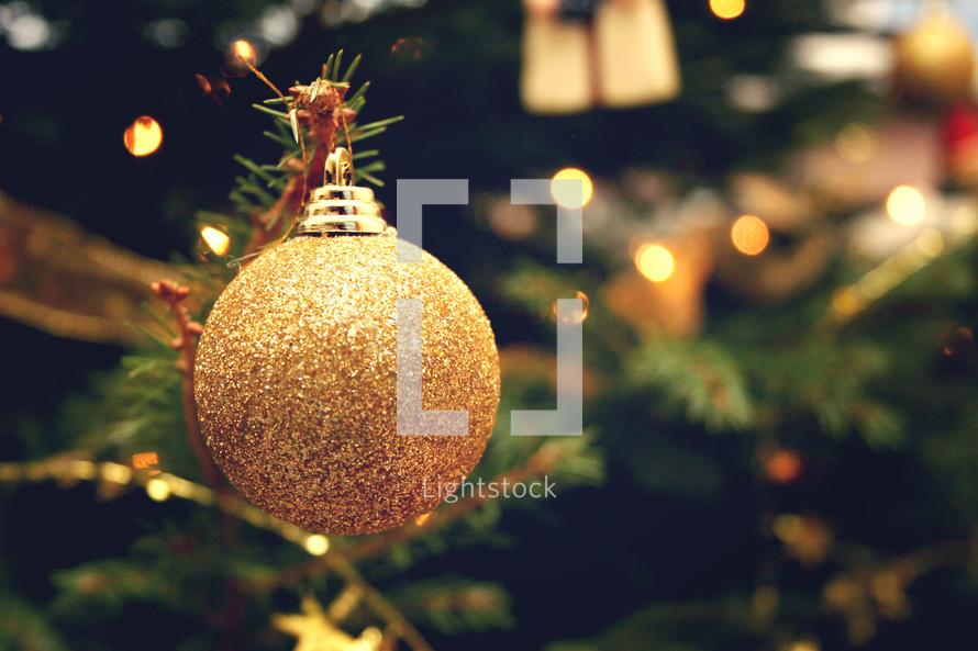 gold glitter Christmas ornament ball