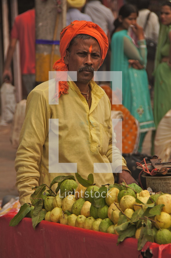 Indian man with fruit