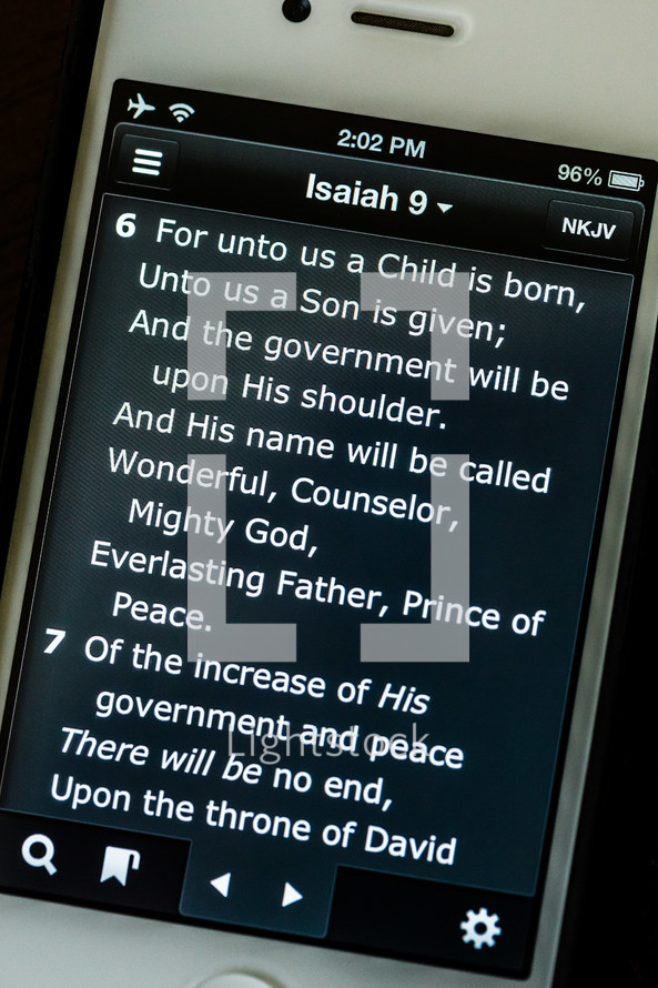 Isaiah 9:6  on cell phone bilbe app iphone