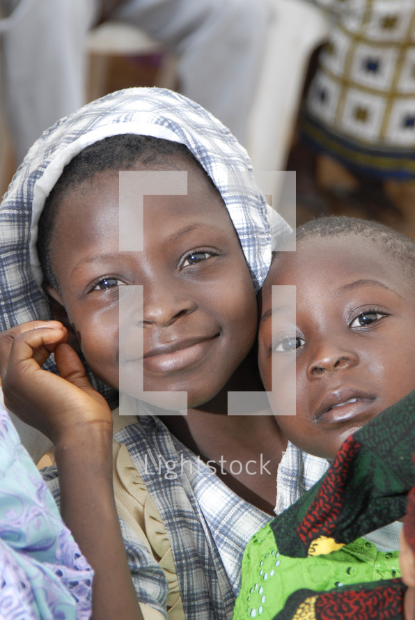 African girl and boy child