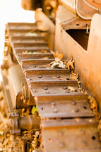Old rusted tractor treads fall leaves