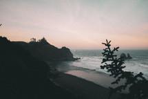 beach shore at dusk
