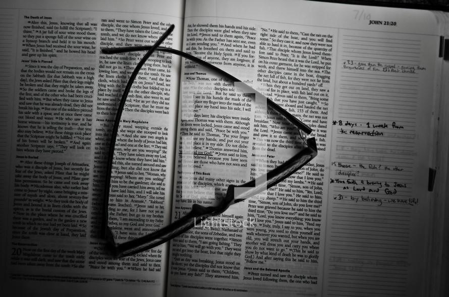Glasses on study Bible