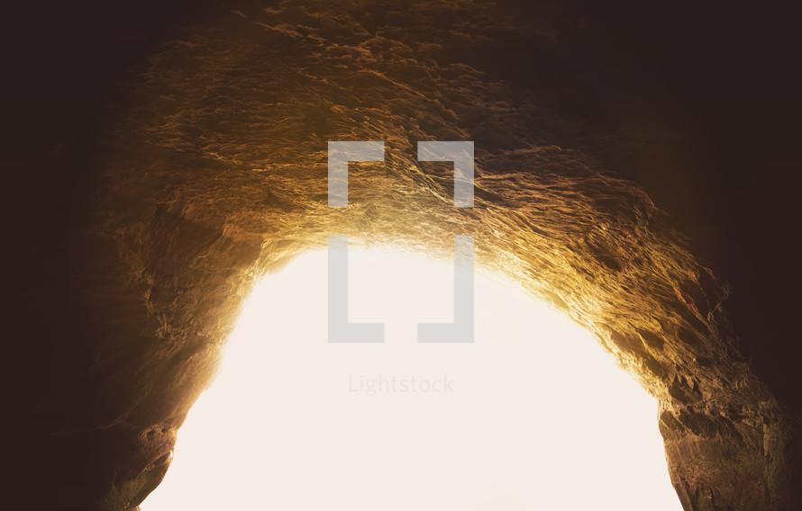 Bright light through a cave