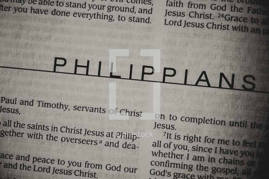 Open Bible in book of Philippians