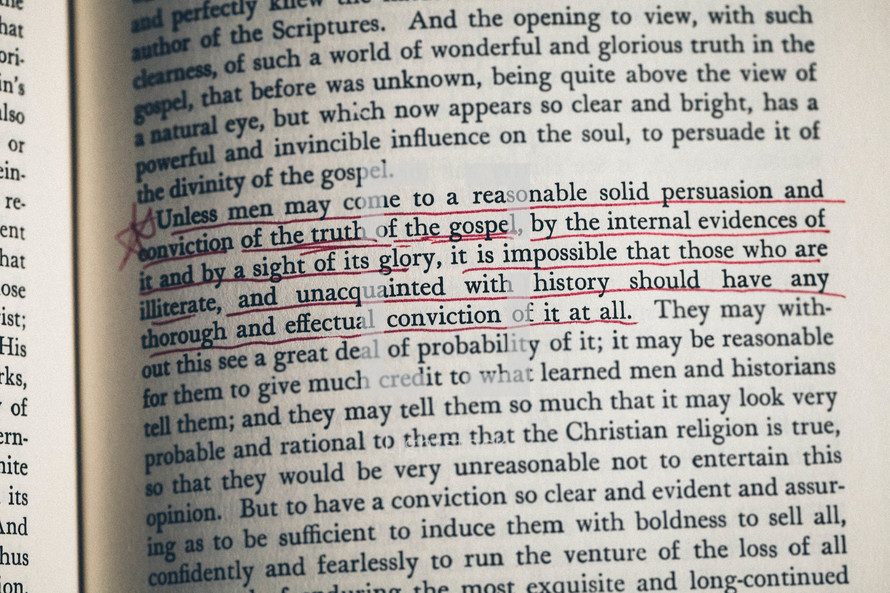 Religious Affections by Jonathan Edwards open page with underlined text.