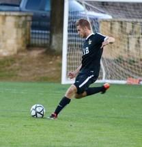 a man kicking a soccer ball