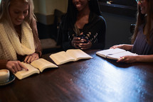 women's group Bible study around a table