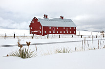 Red Barn in the Snow south of Denver, Colorado