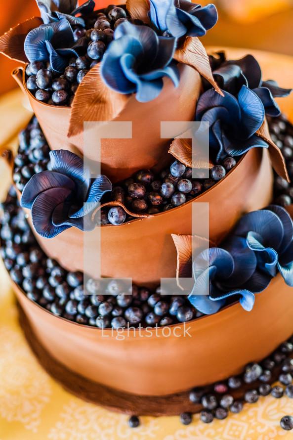 chocolate and blueberry wedding cake