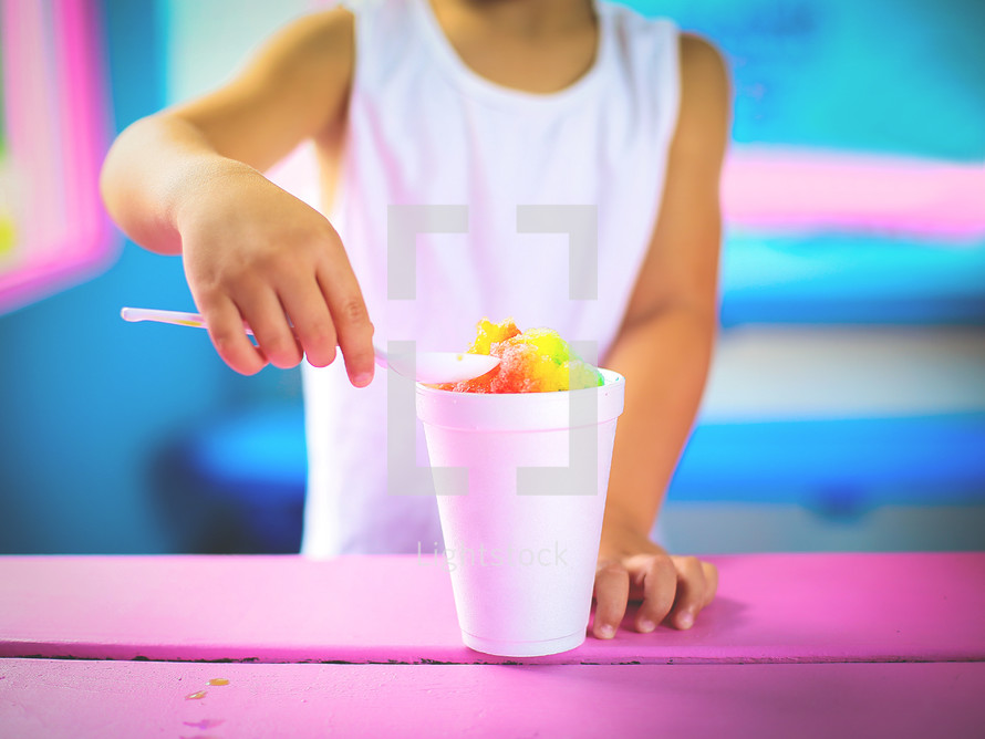 eating a snow cone