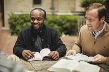 A group of men having a Bible study