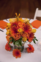 Flower bouquet on dinner table