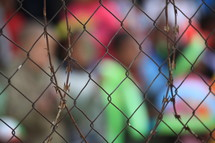 People out of focus, behind a fence