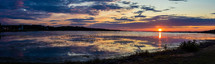 panoramic view of a calm seascape shore at sunset