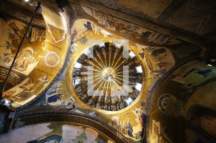 mosaics of Jesus on the dome of a church