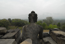 back of the head of an indonesian statue of Buddha
