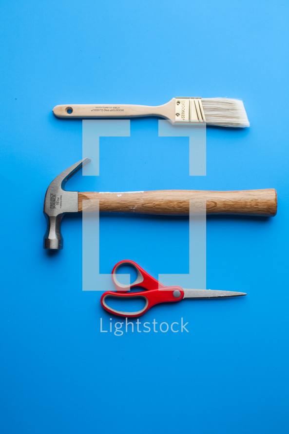 Tools on a blue background.