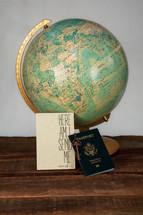 Here I am send me, passport, and globe