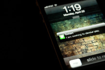 Text message on a smartphone.