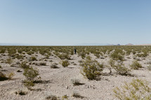 a man walking through a desert landscape in Nevada