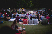 crowds in grass listening to a concert