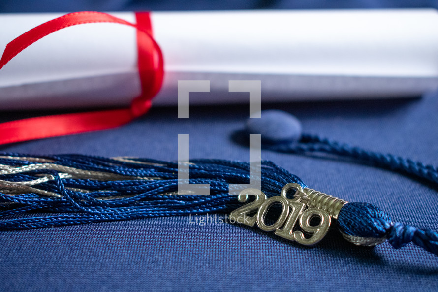 graduation tassel and diploma 2019