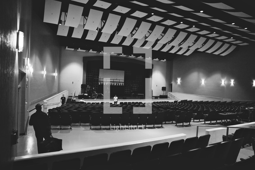 An auditorium and stage.