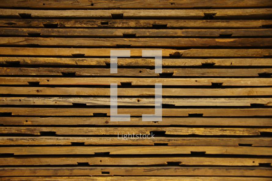 Wood texture on reclaimed lumber slats