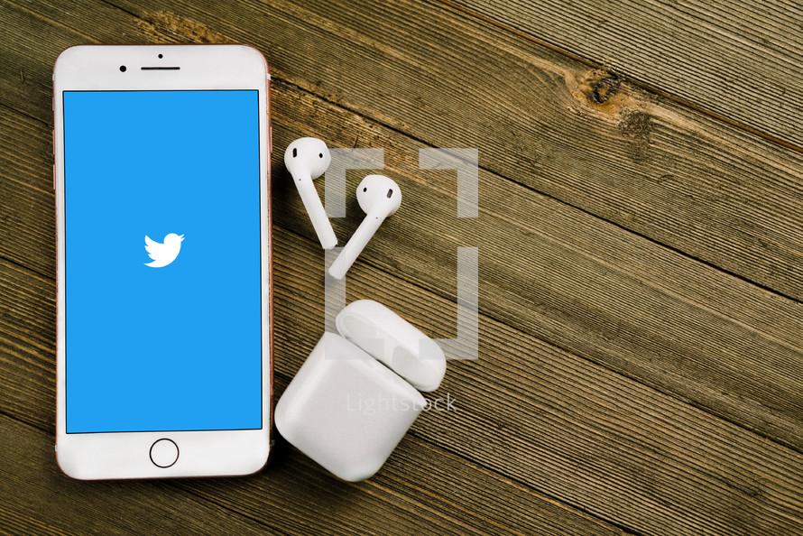 twitter on a cellphone screen
