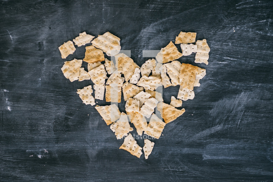 Heart made from crackers