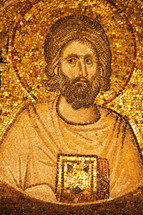 Ancient golden mosaic of John the Baptist