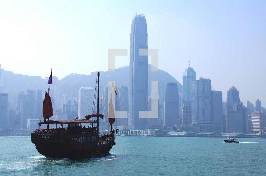 Chinese Junk in Hong Kong Harbor