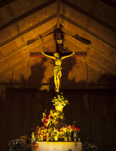 Jesus on the cross in a prayer chapel