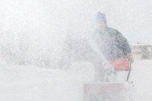 snow blowing in a blizzard